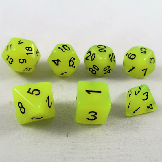 Fluorescent dice yellow Set