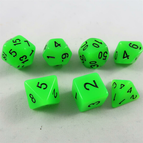 Fluorescent dice green Set