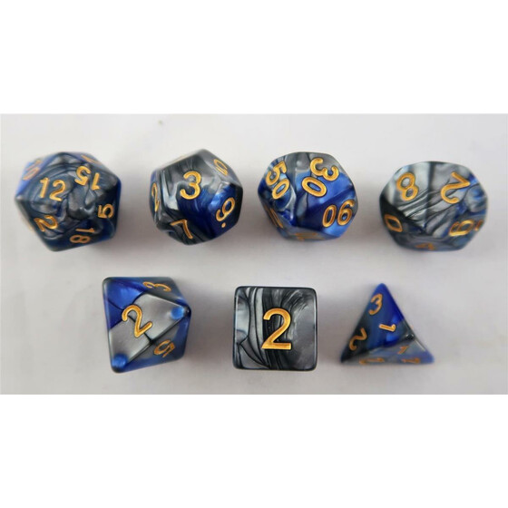Marbled blue-silver/gold