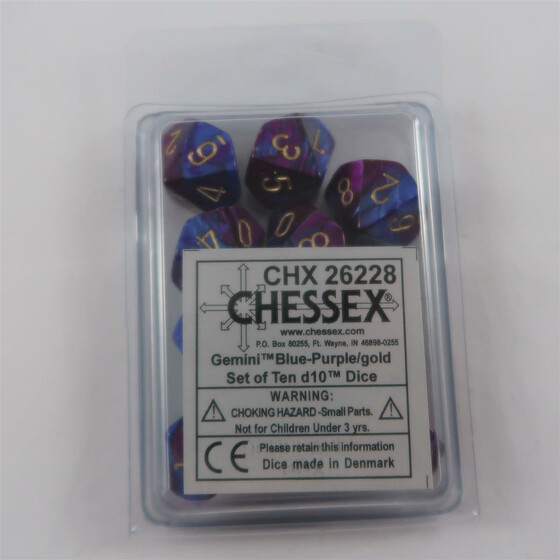 Chessex Gemini blue-purple 10 x W10 Set