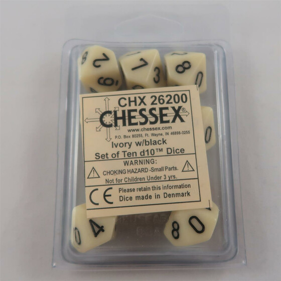 Chessex Opaque Ivory 10 x D10 Set