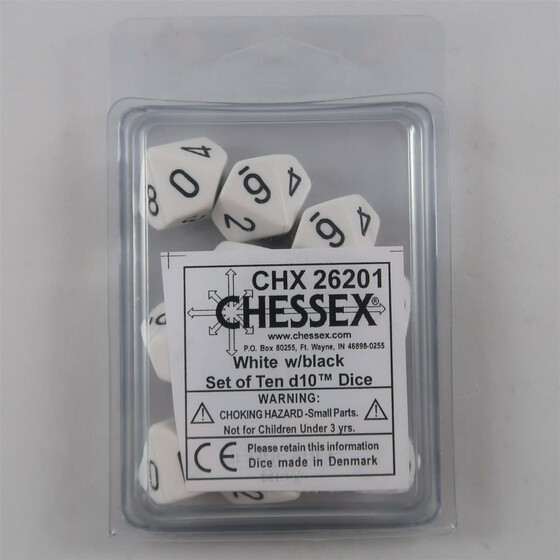 Chessex Opaque White 10 x D10 Set