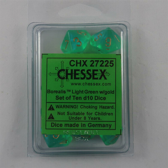Chessex Borealis Light Green 10 x W10 Set