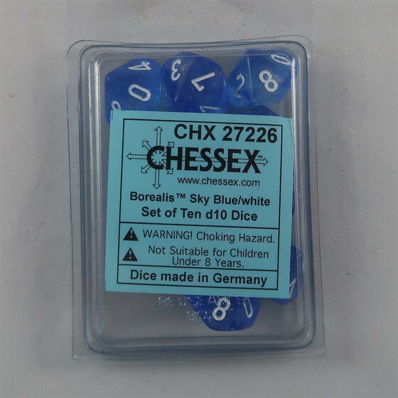 Chessex Borealis Sky Blue 10 x W10 Set