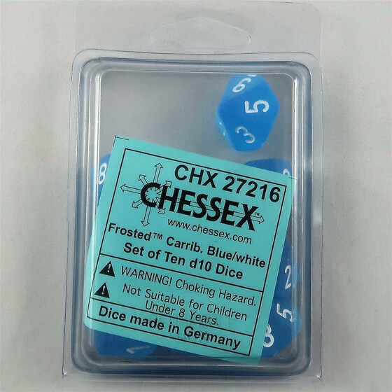 Chessex Frosted Carribean Blue 10 x D10 Set