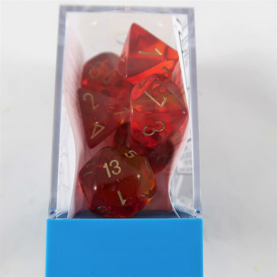 Chessex Gemini translucent red-yellow/gold Set boxed