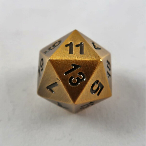 Metal dice D20 antique gold NEW