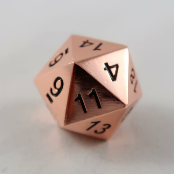 Metal dice D20 shiny copper NEW
