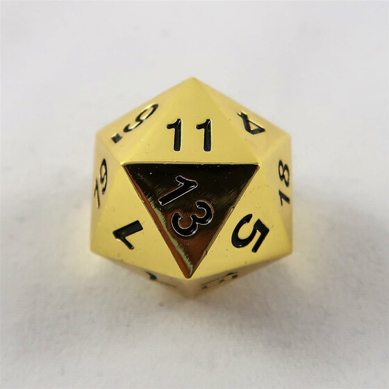 Metal dice D20 shiny gold NEW