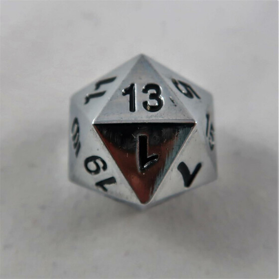 Metal dice D20 shiny silver NEW