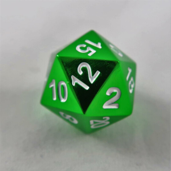 Metal dice D20 green NEW