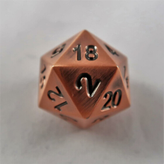 Metal dice D20 antique copper NEW