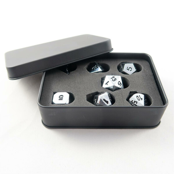 Metal Dice Set Shiny Silver NEW