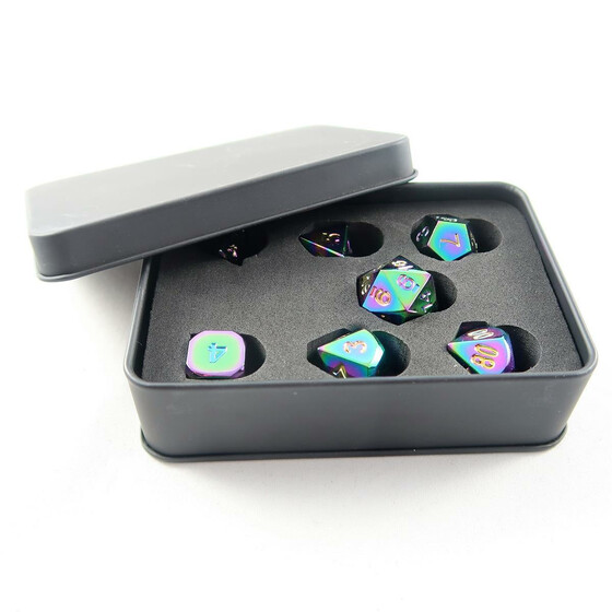 Metal Dice Set rainbow NEW