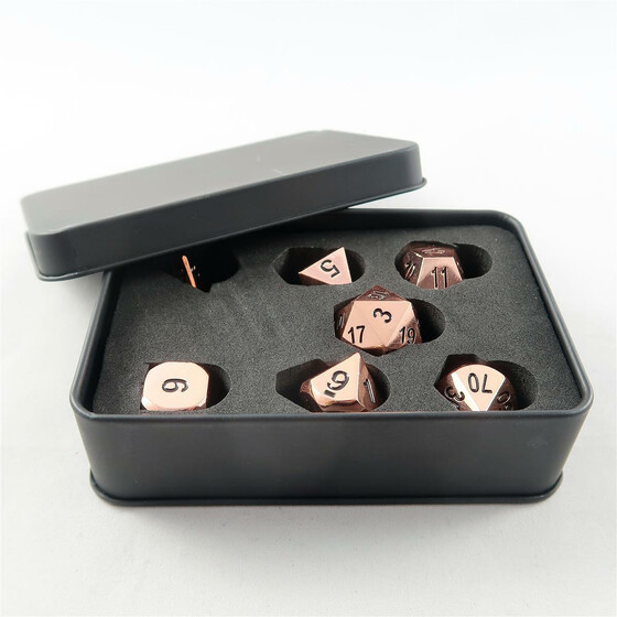 Metal Dice Set shiny copper NEW