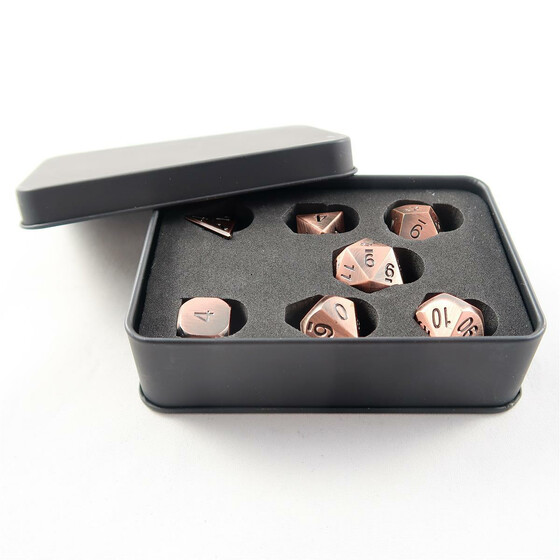 Metal Dice Set antique copper NEW