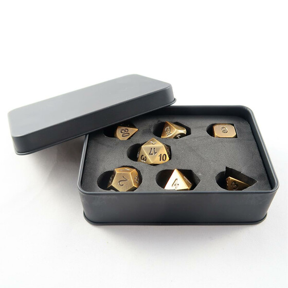 Metal Dice Set antique gold NEW