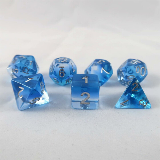 Layer dice translucent blue set