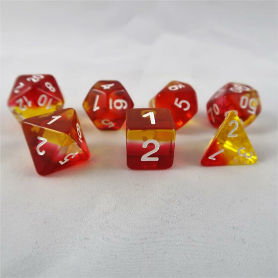 Layer dice translucent red/clear/yellow set
