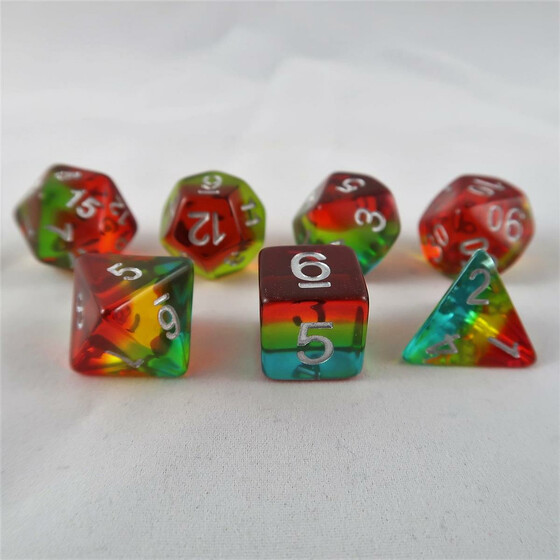 Layer dice translucent teal/yellow/red set