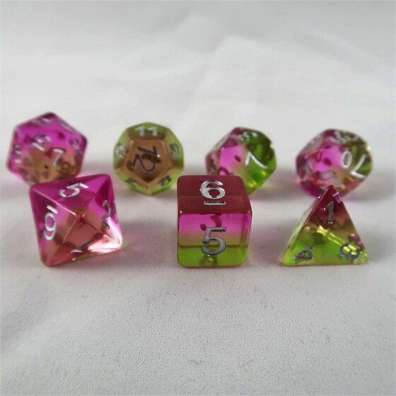 Layer dice translucent green/pink set