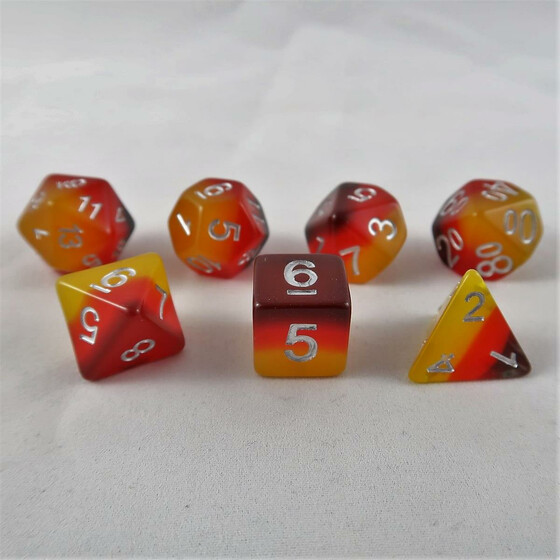 Layer dice red/orange/yellow set